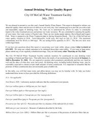 2011 Annual Drinking Water Quality Report - The City of McCall