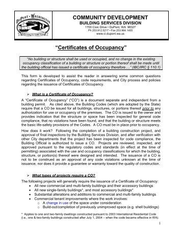 Certificates of Occupancy - City of DuPont