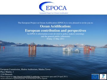 Ocean Acidification: European contribution and ... - Archimedes
