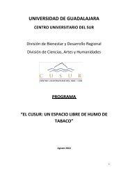 UNIVERSIDAD DE GUADALAJARA - Centro Universitario del Sur