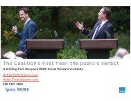 The Coalition's First Year: the public's verdict - Ipsos MORI