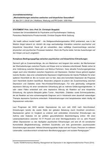 """Journalistenworkshop: """"Wechselwirkungen zwischen seelischer und ..."""