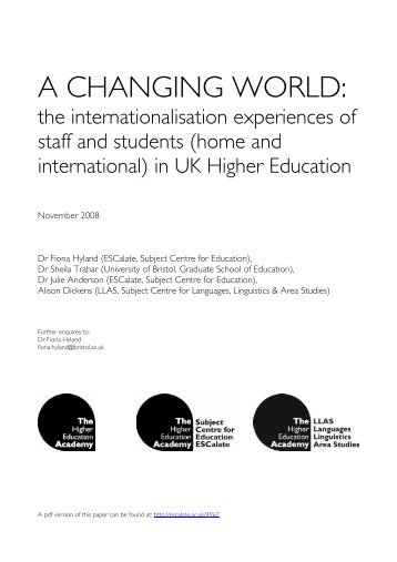 A changing world: the internationalisation experiences - ESCalate