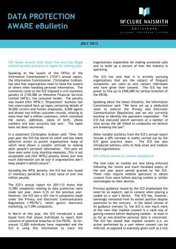 Data Protection eBulletin - July 2012 - McClure Naismith