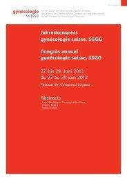 Abstractband 2013 - Jahreskongress gynécologie suisse, SGGG