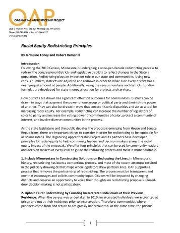 Racial Equity Redistricting Principles - Organizing Apprenticeship ...