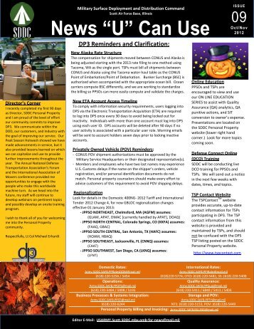 October-November 2012 Newsletter - SDDC - U.S. Army