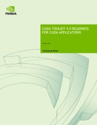 CUDA TOOLKIT 4.0 READINESS FOR CUDA APPLICATIONS