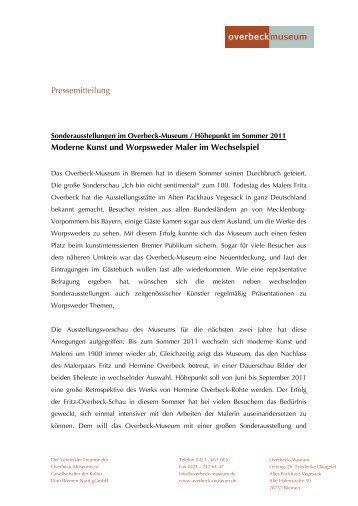 Pressemitteilung Moderne Kunst und Worpsweder Maler im ...