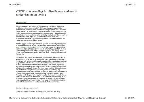 CSCW som grundlag for distribueret netbaseret undervisning og ...