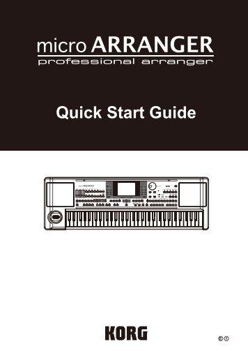 microARRANGER Quick Start Guide - Korg