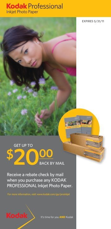 Receive a rebate check by mail when you purchase any KODAK ...