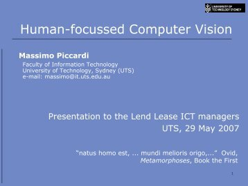 Human-focussed Computer Vision - University of Technology, Sydney