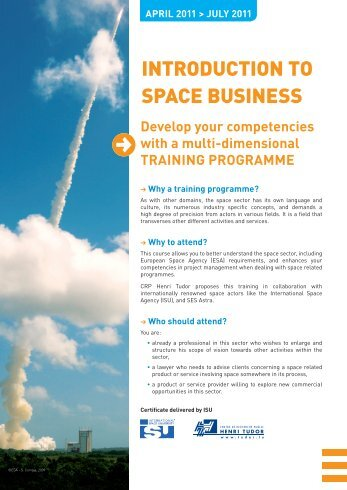 INTRODUCTION TO SPACE BUSINESS - Luxembourg Space Cluster