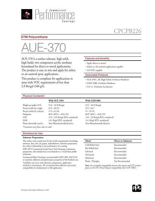 DTM Polyurethane AUE-370 - BAPS