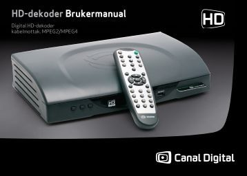 Brukerveiledning Digital HD-dekoder 103 - PDF - Canal Digital ...