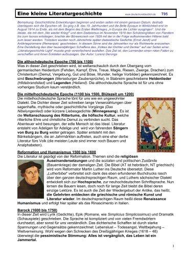 Eine kleine Literaturgeschichte - Mittelschulvorbereitung Deutsch