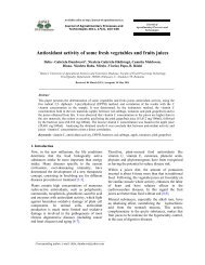 Antioxidant activity of some fresh vegetables and fruits juices