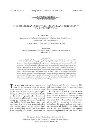 The Borderlands Between Science and Philosophy - Evolutionary ...
