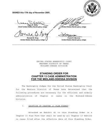 standing order for chapter 13 case administration for - Bankruptcy ...
