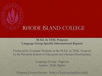 Nigerian English - RITELL