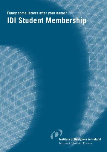 IDI student member form 2003 - Institute of Designers in Ireland