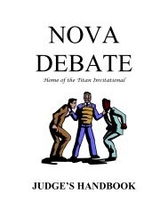 Judge's Handbook 2012 - Nova High School Debate Team