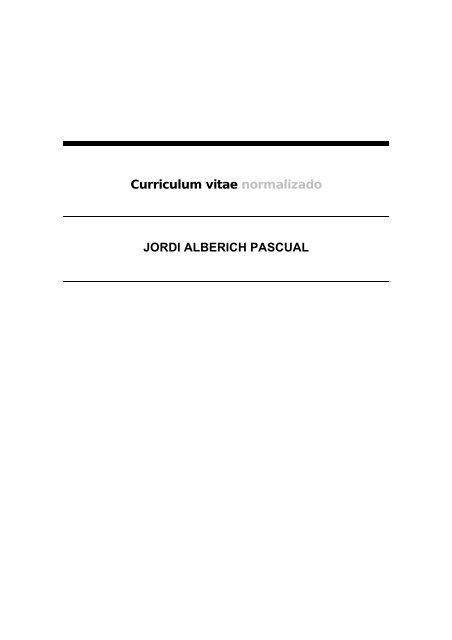 Curriculum Vitae Normalizado Jordi Alberich Pascual