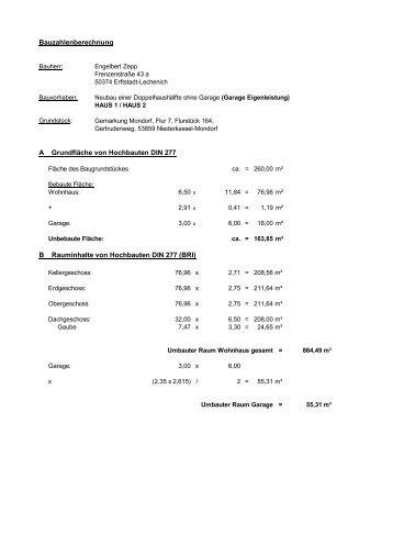 Bauzahlenberechnung A Grundfläche Von Hochbauten DIN 277 B ..