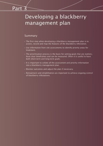Developing a blackberry management plan - Weeds Australia