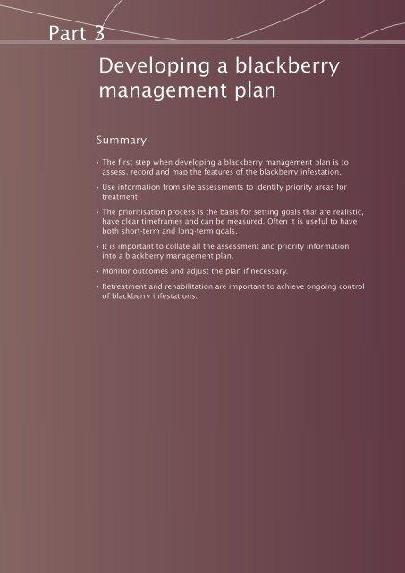 Developing a blackberry management plan - Weeds Australia