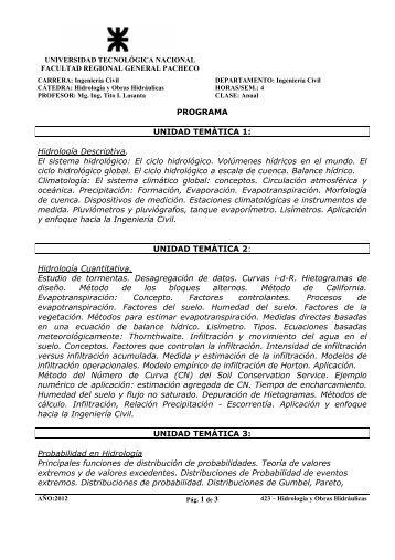 Hidrología y Obras Hidráulicas - UTN FRGP - Universidad ...