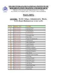 Bhubaneswar Centre. - National Institute of Rehabilitation Training ...