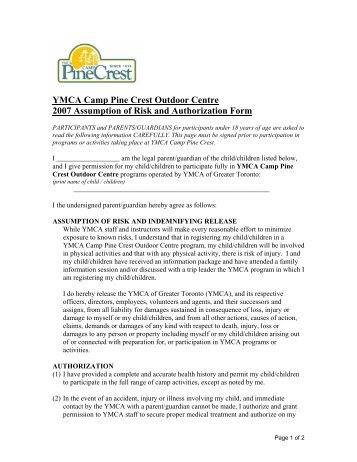 Auto Payment Authorization Form - YMCA of Centre County