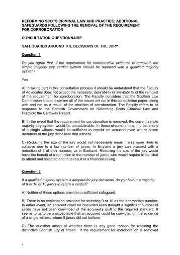 FOA response to consultation on Reforming Scots Criminal Law and ...