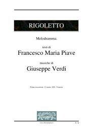 RIGOLETTO Francesco Maria Piave Giuseppe Verdi - Fulmini e Saette