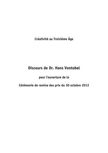 Discours de Dr. Hans Vontobel - Stiftung Kreatives Alter