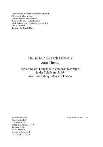 Schriftliche Hausarbeit Im Fach Mathematik Didaktik Der Mathematik