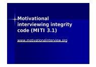 Motivational interviewing integrity code (MITI 3.1) - SA HealthInfo