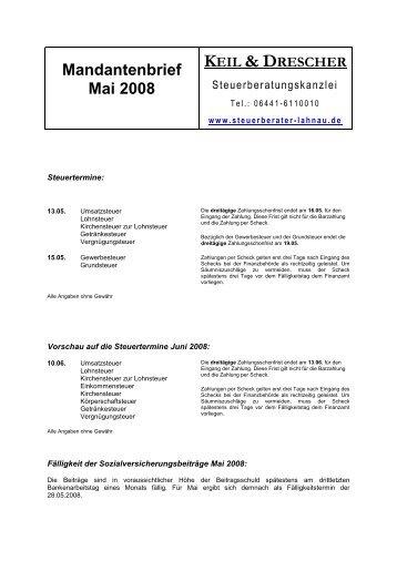 Mandantenbrief Mai 2008 - Keil, Drescher & Muskat