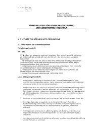 föreskrifter för forskarutbildning vid södertörns högskola