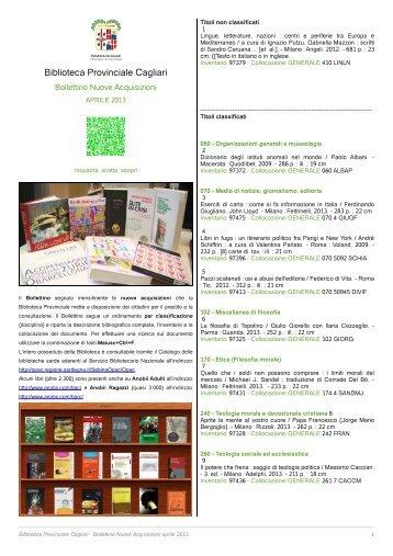 Bollettino Novità aprile 2013 [file .pdf] - Biblioteca Provinciale di ...
