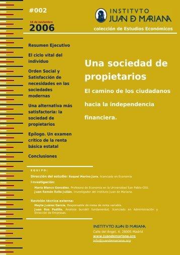 Una Sociedad de Propietarios - Instituto Juan de Mariana