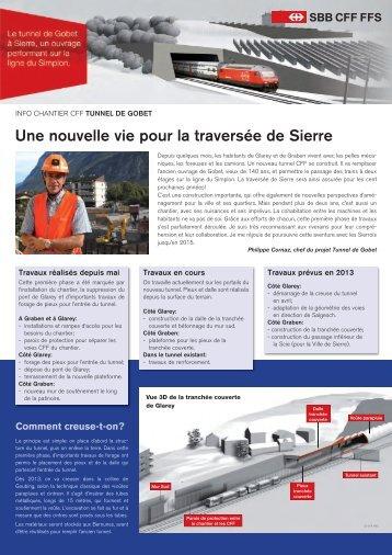 Info Chantier CFF: Tunnel de Gobet - Sierre
