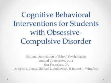 Cognitive Behavioral Interventions for Students with Obsessive ...