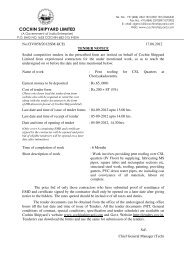 COCHIN SHIPYARD LIMITED - Tenders India