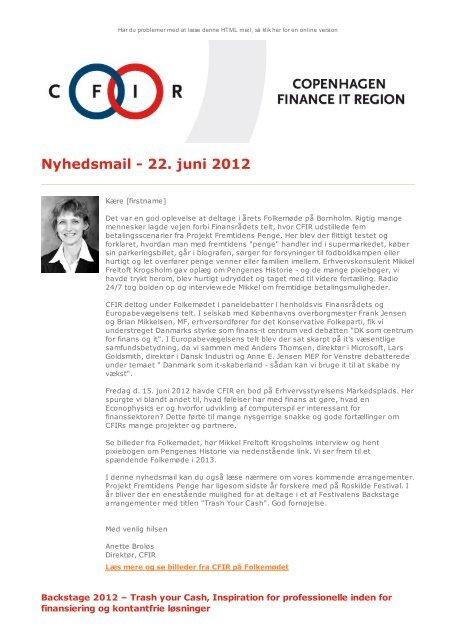 Nyhedsmail - 22. juni 2012 - CFIR
