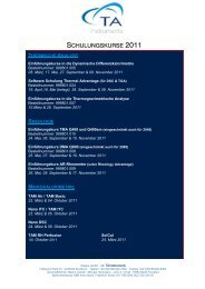 SCHULUNGSKURSE 2011 - TA Instruments