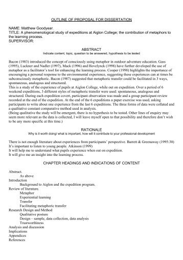 Dissertation outlineproposal