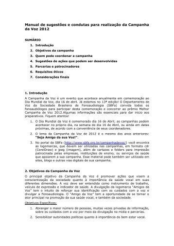 Manual de sugestões e condutas para realização da Campanha da ...